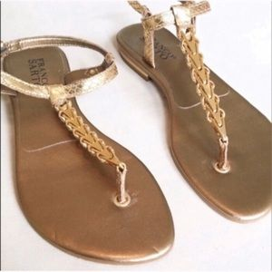 Franco Sarto. Size 7.   Gold metal linked sandals.